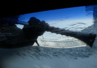 Icy Windshield Causes Crash